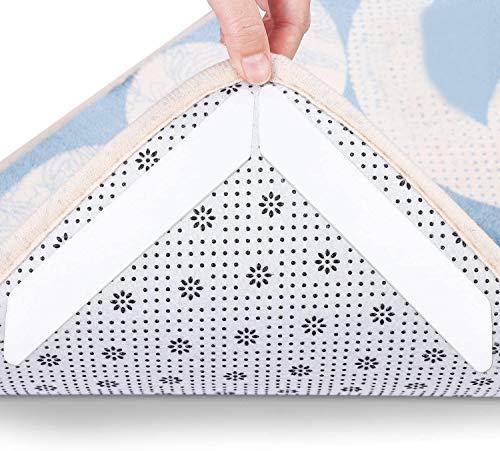 HIQE-FL Teppichgreifer Antirutsch,16 StückTeppichunterlage,Wiederverwendbar Teppich Aufkleber,Antirutschmatte für Teppich,Teppichgreifer Antirutschmatte,Anti Rutsch Teppich (Weiß)