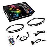 Magnetic Computer LED Strip Kit, Airgoo 2pcs 15inch PC RGB LED Strip Light, Vibrant LED Computer Lights Using Multi Function RF Remote for Desktop PC Computer Tower, Come with Sata Power Cable (Black)