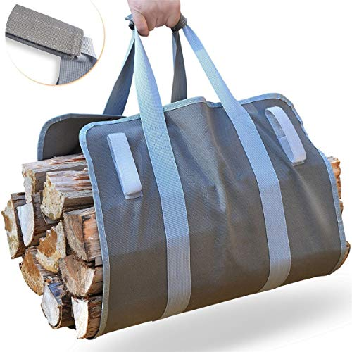 MJJEsports Brandhout Carrier Log Carrier hout draagtas voor open haard 16oz Waxed Canvas
