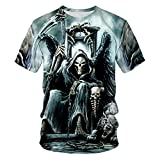 TiwBski Mens T-Shirts 3D Graphic Skull Short Sleeve Tees Funny Printed Summer Tops,Multicolored2,L