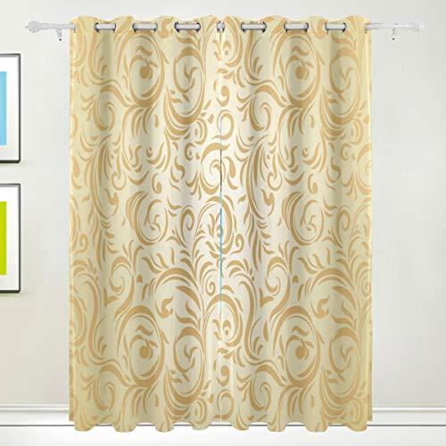 TIZORAX gouden Romeinse bloemen gordijnen kamer donker maken thermische verduistering venster Drapes voor Home Decoration 84