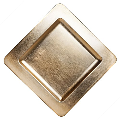 BalsaCircle 6 pcs 11.5-Inch Gold Metallic Square Rimmed Charger Plates Dinner Wedding Supplies for all Holidays Decorations
