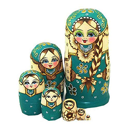 Wood Stacking Nested Set 7 pcs Cute Green/ Blue Sweater Girl Russian Nesting Dolls Matryoshka Toys Decoration Wishing Gift (Green)