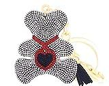 Quadiva Bag Charm - Oso de peluche con corazón para mujer, color blanco y rojo