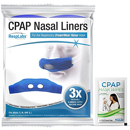 dream weaver cpap masks RespLabs Nasal CPAP Mask Liners - 3 Pack, Compatible with Philips Respironics DreamWear Nasal Pillow, Nasal Masks and Cushions.