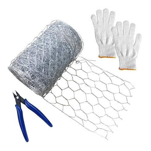 Grillage à poules pour projets d'artisanat, 300 x 10 cm, fil hexagonal galvanisé avec mini pince et gants, treillis métallique léger pour la maison, le jardinage