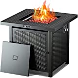 TACKLIFE Propane Fire Pit Table, 28 Inch 50,000 BTU Auto-Ignition Gas Fire Pit Table with Cover,Outdoor Companion, ETL Certification, Strong Striped Steel Surface, Table in Summer, Stove in Winter
