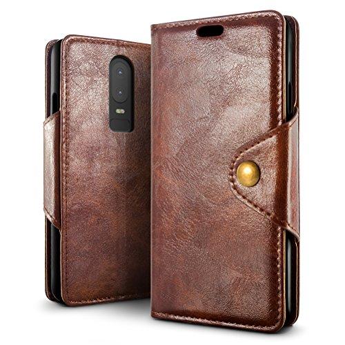 Custodia OnePlus 6, SLEO Cover OnePlus 6 [Premium Portafoglio Protettiva] Semplice Wallet, 3-Scheda Slot, [PU pelle Protezione a 360 Gradi]...