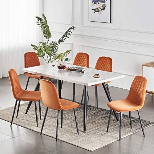 2er Set Esszimmerstühle Wohnzimmerstuhl Sessel mit Rückenlehne Sessel Stuhl Scandinavian Vintage Künstlich Wildledersitz mit Stahlbeinen in Schwarz (Orange, 6)