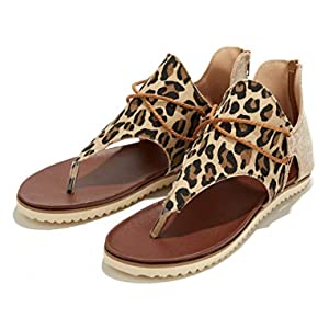 Molodo Women's Summer Sandal Beach Casual Fashion Back Zipper Leopard Print Flat Heel Slip Sandal for Lady …