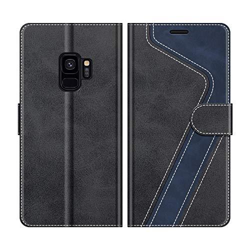 MOBESV Coque pour Samsung Galaxy S9, Housse en Cuir Samsung Galaxy S9, Étui Téléphone Samsung Galaxy S9 Magnétique Etui Housse pour Samsung Galaxy S9, Élégant Noir