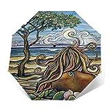 SUHETI Paraguas automático de Apertura/Cierre,Pintura al óleo del Arte,Hermosa Mujer Elegante,Playa,mar y árbol Grande,Paraguas pequeño Plegable a Prueba de Viento