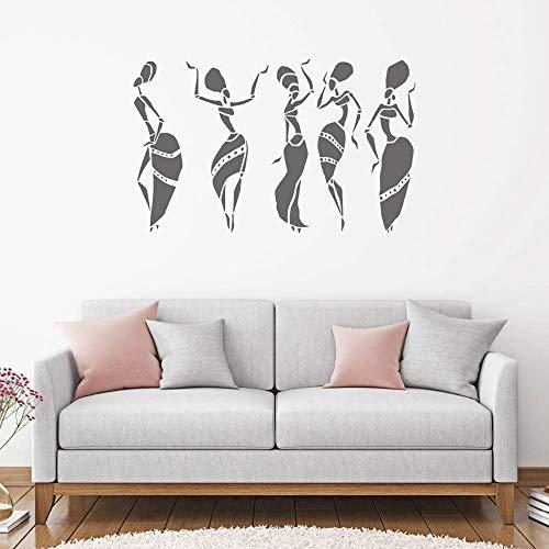 Etiqueta engomada de la pared del vinilo africano abstracto del tema africano del bailarín africano de la mujer africana