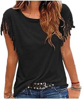 Fyuanmeiinsdxnv Womens tops summer Summer Short Sleeve Tassel T-shirt Woman Simple Crew Neck Basic Tops Leisure Ladies Str...