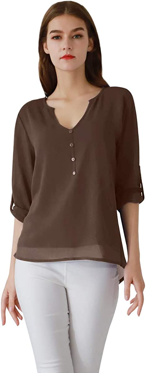 YMING Women's Chiffon Blouse Button Up V Neck Roll Up 3/4 Sleeve Shirt Casual Blouse