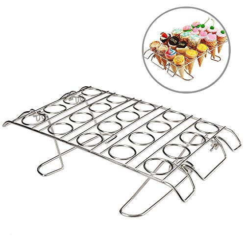 Cupcake Cone Baking Rack, Ice Cream Cone Stand Holder, Waffle Cone Holder,Stainless Steel,20 Capacity Foldable (1)