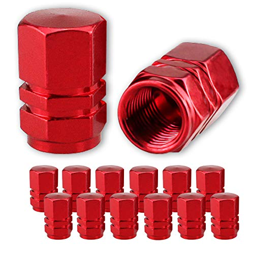 JUSTTOP Car Wheel Tire Valve, 12pcs Air Caps Cover, Universal for Cars, SUVs, Bike, Trucks and Motorcycles-Red