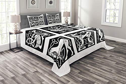 ABAKUHAUS keltisch Tagesdecke Set, Stammes-abstrakte Tiere, Set mit Kissenbezügen Sommerdecke, für Doppelbetten 264 x 220 cm, Weiß & Schwarz