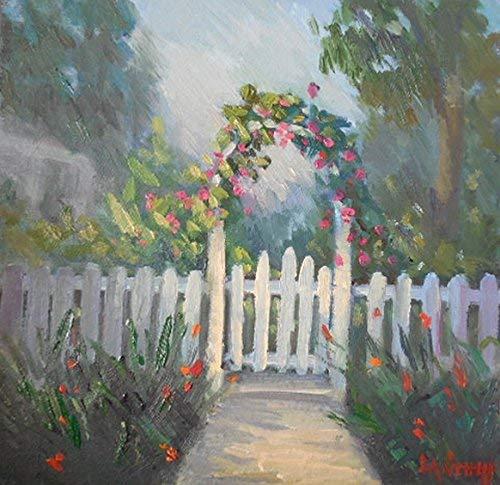 "Original Garden Oil Painting Rose Trellis 8x8x1.5"" Handmade"