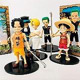 One Piece Luffy Sanji Zoro Sabo Ace Kid Niño Ver. Figura de acción de PVC OP Cute Collectible Model Toy 12cm-5pcs / Set