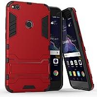 Ougger Fundas para Huawei P8 Lite (2017) Funda Carcasa Protector Absorción de Impacto [Kickstand] Armor Cover Duro Plástico + Suave TPU Rubber 2in1 Gear Rear Red