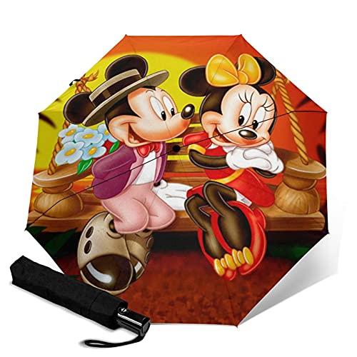 Paraguas de Mickey Cartoon Minnie Mouse automático portátil de tres pliegues, cortavientos, impermeable, anti-UV, apertura automática/cerrada, compacta y portátil plegable