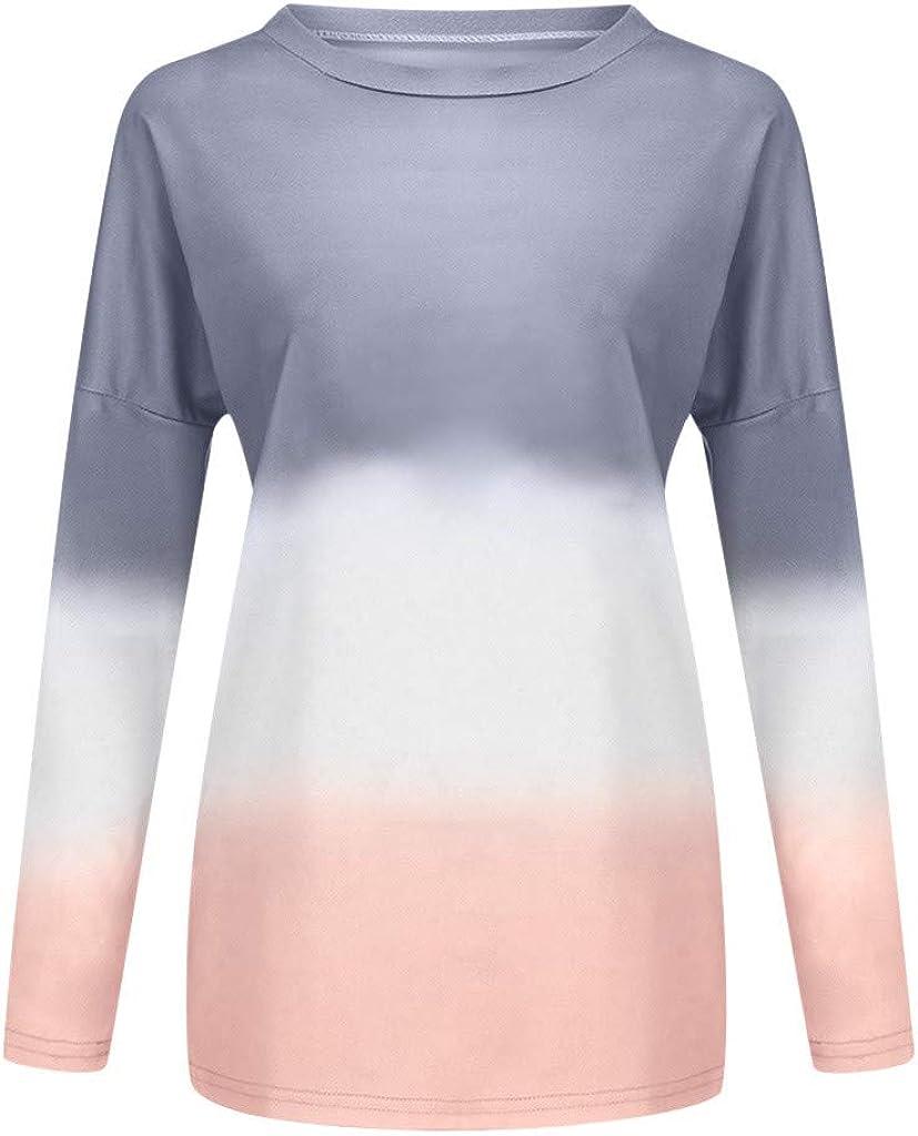 Pullover Sweatshirt Tops for Women,Tie Dye Gradient Sweatshirt Long Sleeve Crew Neck Color Block Loose Pullover Tops