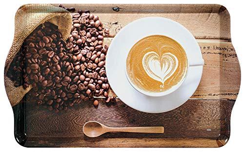 Kesper Serviertablett, 77429, Motiv: Coffee Cup, Maße: 48 x 30 x 3,5 cm, Melamin, Braun, 5 cm