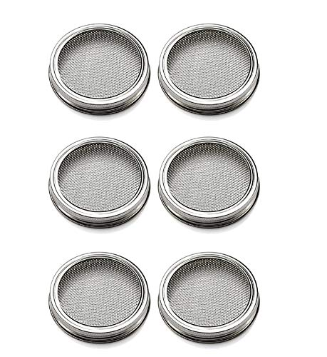 ZFAZF 2 Pack Stainless Steel Sprouting Jar Lid 304 Stainless Steel 100% Rust Free, for Sprout Fresh Organic Broccoli Seeds, Mung Beans, Alfalfa Seed (Seeds not included)