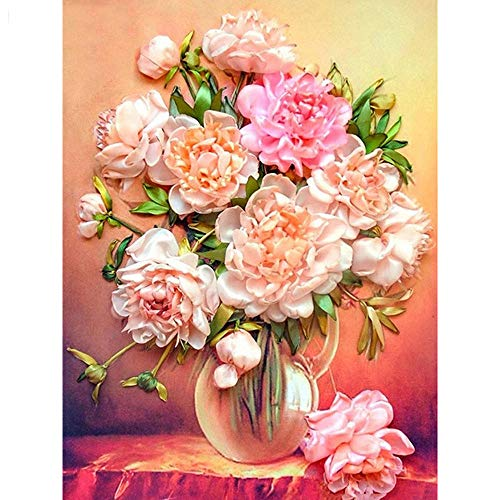 5D Complete set grote diamantschilderij bloem bloempot strass rond beeld borduurwerk mozaïek decoratie huis geschenk 40 x 50 cm (16 x 20 inch)