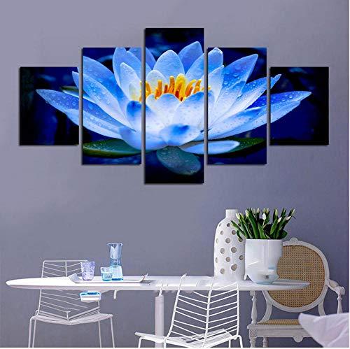 Hübsche Poster HD Gedruckt Rahmen Wohnzimmer 5 Panel Hellblau Lotus Pool Floral Moderne Wandkunst Bilder Dekoration Malerei