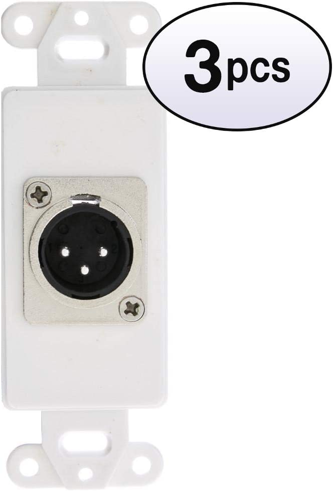 GOWOS 3 Pack Decora Wall Plate to Department store Shipping included White Insert Male Sold XLR