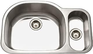 Houzer MG-3209SR-1 Medallion Designer Series Undermount Stainless Steel 70/30 Double Bowl Kitchen Sink, Small Bowl Right
