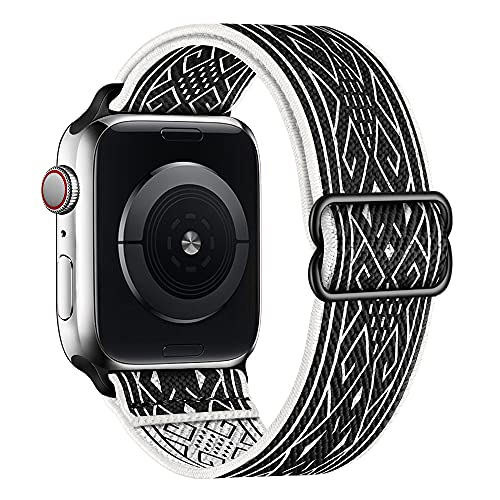 of disney watch bands dec 2021 theres one clear winner SIRUIBO Stretchy Nylon Solo Loop Bands Compatible with Apple Watch 38mm 40mm, Adjust Stretch Braided Sport Elastics Women Men Strap Compatible with iWatch Series 6/5/4/3/2/1 SE, Black White Rhombus