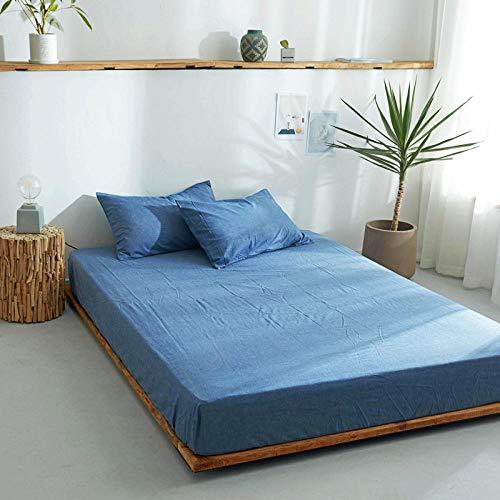 DSman Protector de colchón/Cubre colchón Acolchado, antiácaros, Sábana de algodón de una Sola Pieza Color sólido-9_120 * 200cm