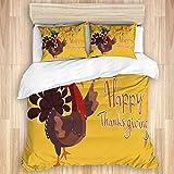 DAOPUDA Funda nórdica y Funda de Almohada,Turkey Happy Thanksgiving, Juego de Cama Suave de Lujo de 3 Piezas, tamaño Gemelo