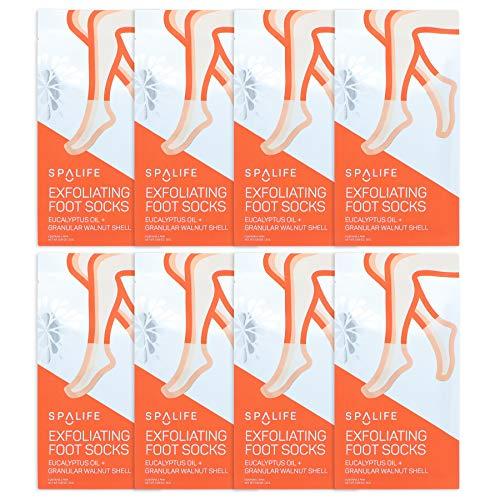 Spa Life Exfoliating Foot Socks - Eucalyptus Oil + Granular Walnut Shell 8 pack