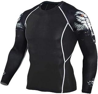 Black Yoga Shirt Mens Long Sleeve Dri Fit Compression Top