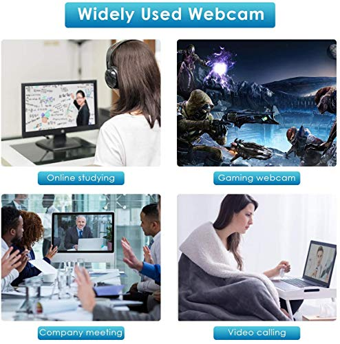 Webcam with Microphone, 1080P HD Webcam with Auto Light Correction, USB Plug & Play Webcam Streaming Computer Camera for Video Conferencing, Teaching, Streaming, and Gaming (Black) miniatura