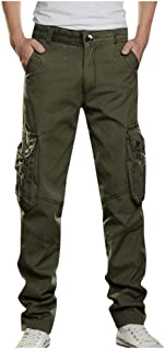 WUAI-Men Relaxed Straight-Fit Cargo Work Pant Elastic Waist Stretch Twill Relaxed Work Tactical Pants