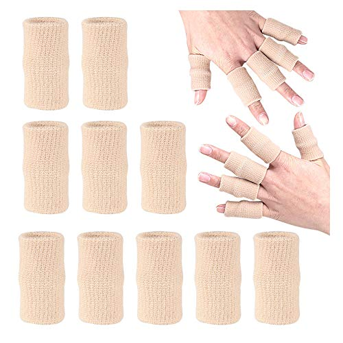 ZEPOHCK 10 Pcs Finger Sleeve Brace Split Protector for Finger Support Compression, Finger Protection for Basketball Tennis and All Sports (Beige)