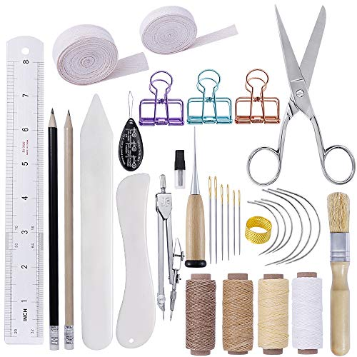 BUTUZE 32 Pieces Hand Bookbinding Tools, Bookbinding Kit for Beginners,Complete Bookbinding Tool Kit...