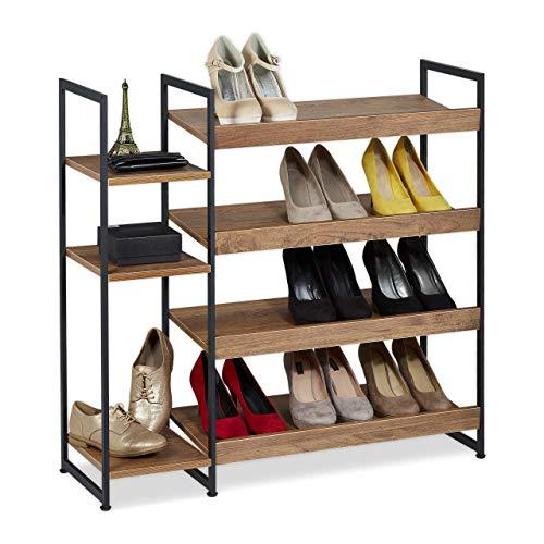 Relaxdays schoenenrek, 15 paar schoenen, 7 niveaus, open, voor halfhoge schoenen & laarzen, hxbxd: 87 x 89 x 31 cm, bruin, 1