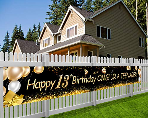 HOWAF Súper Grande Feliz 13 Cumpleaños Pancarta para Adolescente 13 Años Cumpleaños Decoración Negro y Oro, 13 Cumpleaños Foto Prop Fondo Pancarta de Tela para Jardín Mesa Pared Decoración, 9*1.2 Pies