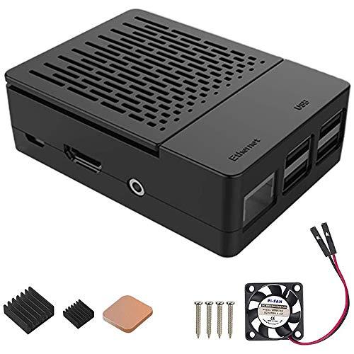 GeeekPi Custodia per Raspberry Pi 3 Modello B+, con Ventola di Raffreddamento e dissipatori di Calore 3PCS per Raspberry Pi 3/2 Modello B (Non includere Scheda Raspberry Pi) (Nero)