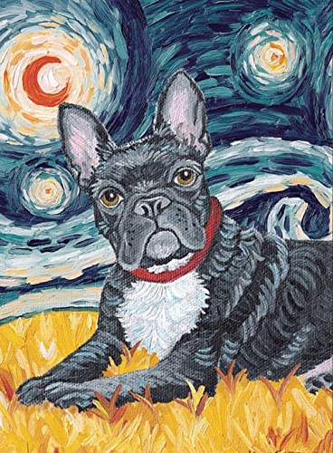 Jigsaw Puzzles 500 Pieces for Adults French Bulldog Decorative Puppy Dog Portrait Starry Night Decorations DIY Leisure Game Toy Suitable Family Friends