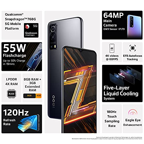 iQOO Z3 5G (Ace Black, 8GB RAM, 128GB Storage)   India's First SD 768G 5G Processor   55W FlashCharge   Upto 9 Months No Cost EMI   6 Months Free Screen Replacement