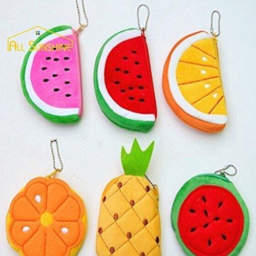 Generic rojo Lollipop: 3d frutas moneda Monedero mujer con cremallera monedero bolsa niños frutas Short Plush Moneda bolsos