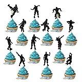 JustYit 24 Stück Kuchen Topper Glitter Happy Birthday Street Dance Junge Form Kuchendeckel Kuchendekoration Geburtstag Party Zubehör/Schwarz