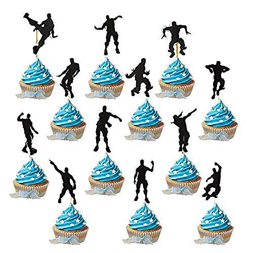 YGSAT 24 st speltema cupcake toppers party tjänst danstråd grattis på födelsedagen tårta dekoration spel festtillbehör möhippor festdekorationer